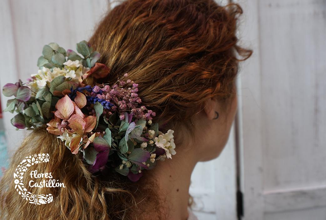 Flores para el pelo para invitadas de boda y novias Flores Castillon