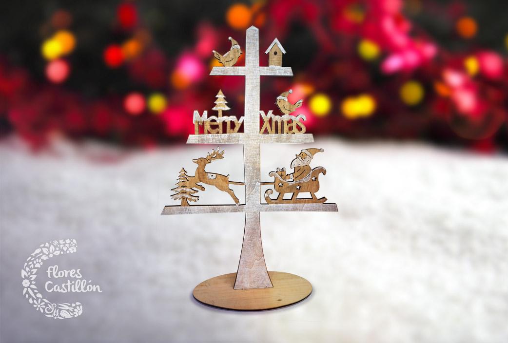 arbol madera navideño