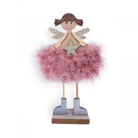 ángel de Navidad con vestido de plumas